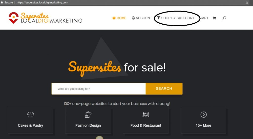 Shop By Category page